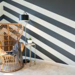 painted funky stripes in Aldie Home, Benjamin Moore Silver Mist 1619, Benjamin Moore Wescott Navy 1624