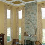 in the family room, 2153-40 cork was applied to the walls and 2153-30 tapestry gold was applied to the coffered ceiling